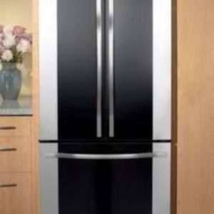 Black and Stainless French Door Counter Depth Refrigerator