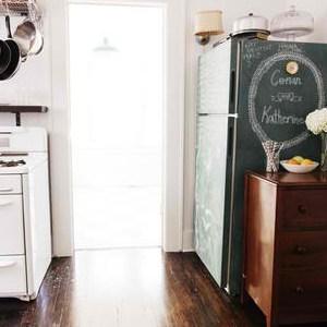 Vintage Kitchen Decor with Chalkboard Refrigerator