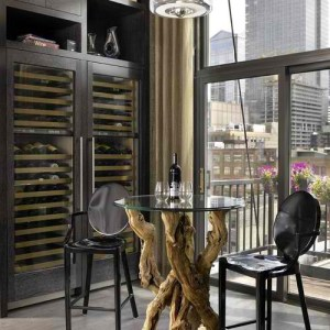 Beautiful Glass Door Wine Refrigerators Built-In to Kitchen Cabinets