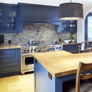 Hardwood, Blue, and Stainless for a Cool Kitchen